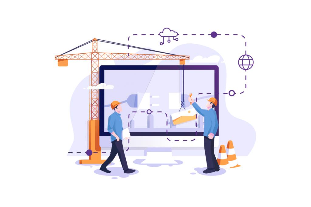Website Maintenance Illustration of Building a Screen