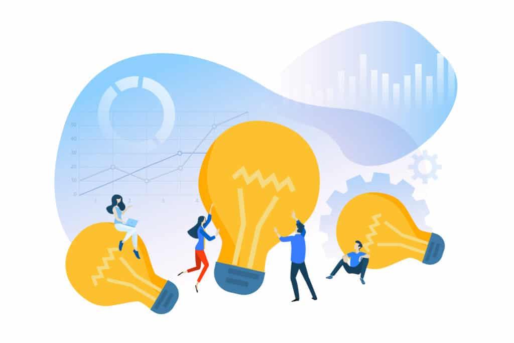 Business Idea Illustration with Lightbulbs and Cartoon People
