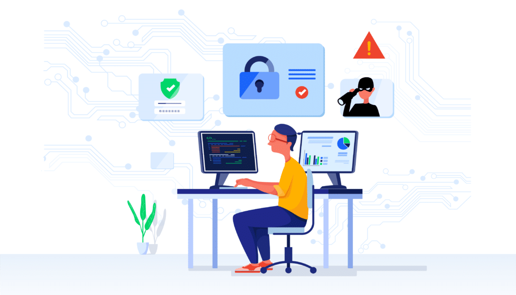 Cyber Security Analyst Illustration Protecting Websites